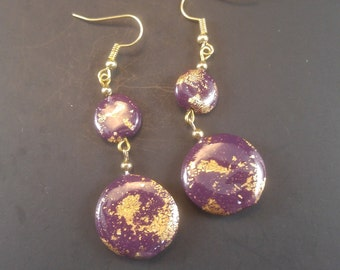 Royal Plum Purple Gold Flake Lentil Earrings