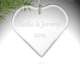 Glass Heart Shaped Ornament