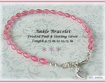 Ladies Anklet, Pink Ankle Bracelet, Pink Anklet, Pink Plus Size Bracelet - AB2012-03