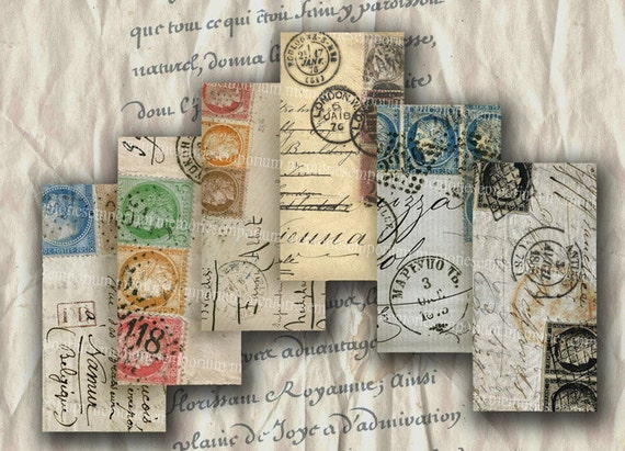 french stamps paris postmarks handwriting 1x2 inch for domino. Black Bedroom Furniture Sets. Home Design Ideas