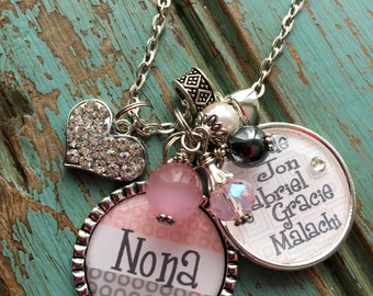 Personalized Nona necklace nana mom grandma Nana gift aunt friend bff girlfriend birthday keychain pink gray polka dot