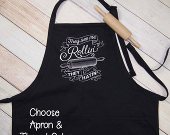 Baking Apron - They See Me Rollin' They Hatin' Embroidered Apron - Kitchen Apron - Funny Apron - Bakers Apron Housewarming Gift