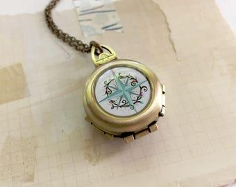 Always Know Your True Path - Compass Locket, Folding Vintage Inspired Original Art Pendant, Graduation Gift Idea