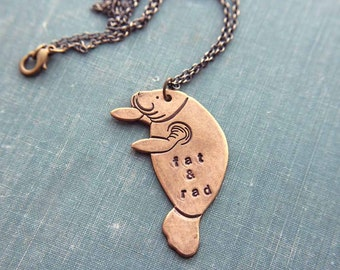 fat & rad manatee necklace - personalized sea cow jewelry