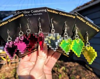 Pixel Heart Earrings, Undertale Zelda GeekStar Geek Retro 8bit Jewelry