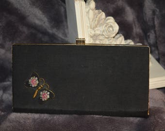Vintage 1950's Black Clutch Handbag