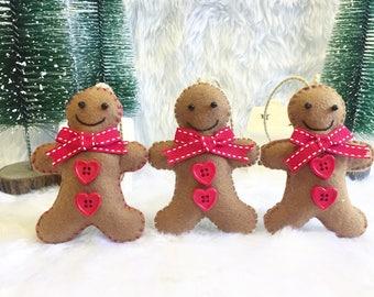 Three Handmade Felt Gingerbread Men