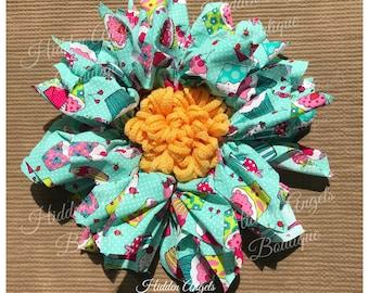 Happy Birthday Wreath, Sunflower, Cupcake, Nursery Wreath