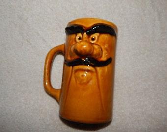 Vintage Bandito Old Rough Mustache Man Ceramic Mug 3D Face