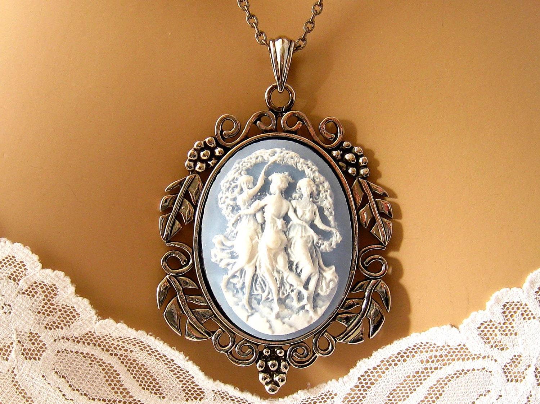 Light Blue Cameo The Three Muses Blue Cameo Necklace 3