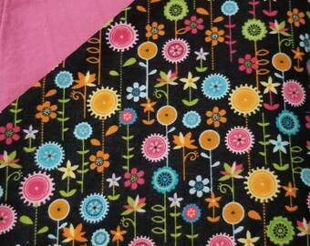 Floral Flannel Receiving Blanket/Toddler Nap Blanket