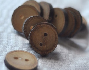 set of 12 or 8  linden wood buttons • tree branch buttons • handcrafted wooden button