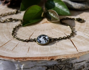 Full Moon Bracelet | Antique Bronze Charm Bracelet | Space Bracelet | Moon Jewelry | Customized Jewelry | Minimalist Design |