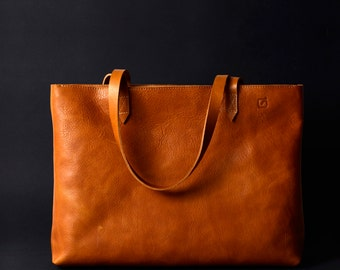 FREE express shipping simple everyday leather tote bag tan premium Italian vegetable tanned leather laptop bag zip