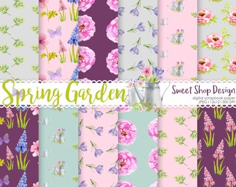 Spring Garden Digital Paper, Printable Scrapbook Paper Pack, Flowers, Floral, Set of 12 Papers