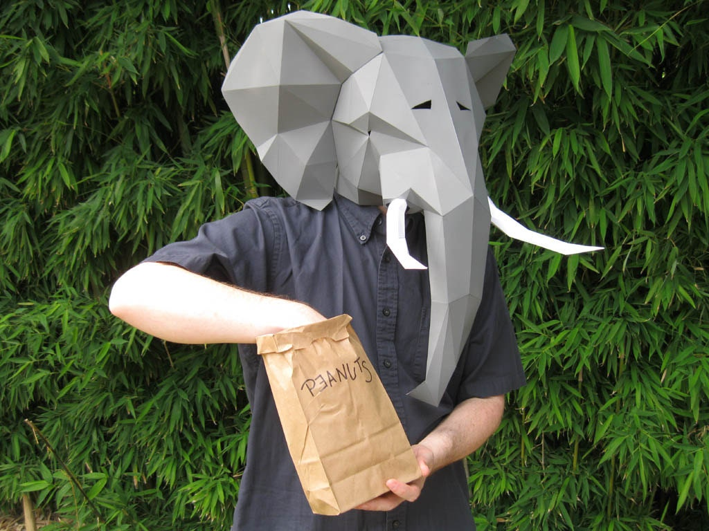 Elephant Mask Build Yours with just Paper and Glue Animal