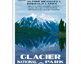 Glacier National Park poster, created in the WPA style, 13x19, Original artwork signed by the artist.