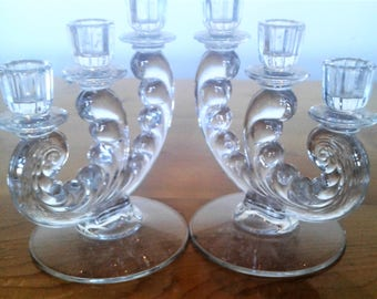 Vintage Pair Of Fostoria Clear Glass Triple Lite Footed Candle Holders