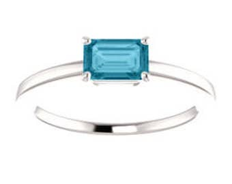 London Blue Topaz Ring, Emerald Cut, Sterling Silver