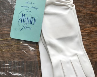 "Vintage Pair White ""Nylasuede"" Driving Gloves by Hansen~Upper Wrist-Length~Size 7 1/2~Unused NOS/New Old Stock Mint in Sleeve with Labels"