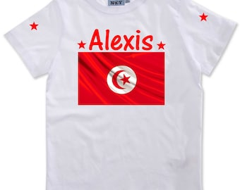 Tunisia boy personalized with name t-shirt