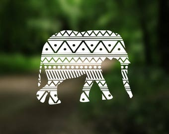 DECAL {Elephant} Aztec Decal | Vinyl Decal | Car Window Decal | Laptop Decal | Water Bottle Decal | Phone Decal | Yeti Decal