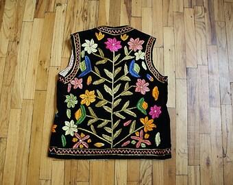 1970s Vintage Embroidered Velvet Turkish Vest, Size Medium/Large