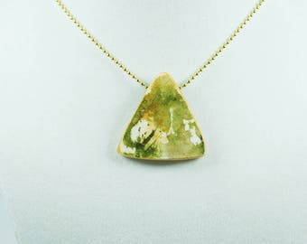 Necklace - Watercolor Jewelry - Pendant - Triangle - Costume Jewelry - Light Weight - Green and Gold - Gift for Her - Gift for Girls