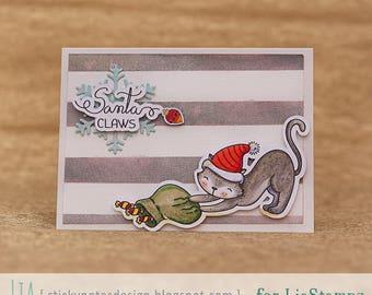 Digital stamp - santa claws. digital stamp. cat stamp. christmas stamp. LiaStampz
