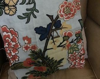"Schumacher Chiang Mai Dragon linen fabric Aquamarine remnant rare opportunity...29""long x 16"" wide ideal cushion"