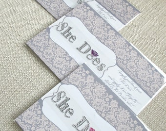 Bridesmaids Shoe Jewelry She Does Stickers in silver with purple, blue, pink, or silver ring