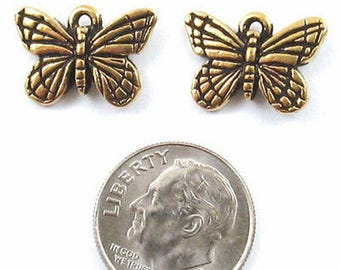TierraCast Pewter Charms-GOLD MONARCH BUTTERFLY (2)