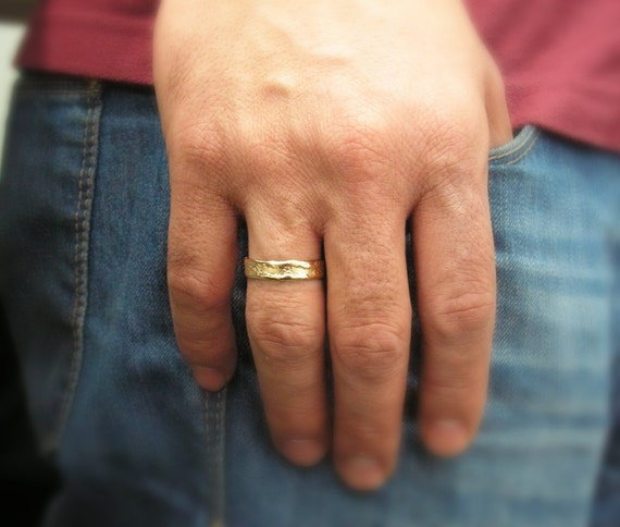 Men gold ring 14k gold Hand Molded wedding band mens gold