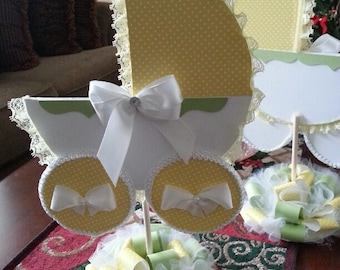 Yellow And Green / Baby Carriage Centerpiece / Baby Shower Centerpiece