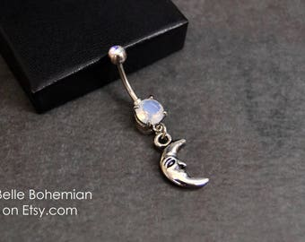 Opalite Belly Button Ring - Moon Dangle Belly Button Ring - Moon Belly Button Ring - White Opal Belly Button Ring -  14G Surgical Steel