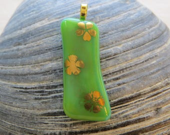 0011 - 22k Gold Flowers on Green Fused Glass Pendant