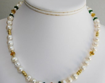 Freshwater Pearl with Green and Gold Glass Necklace