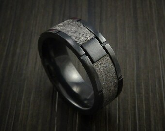 Gibeon meteorite in black zirconoium wedding band made to any sizing and width