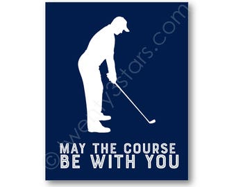 Golf Name Poster, Golfer Art, May the Course Be With You Art, Golfer Gift, Golf Canvas, Golf Art Print, Personalized Golf Art, Girls Golf