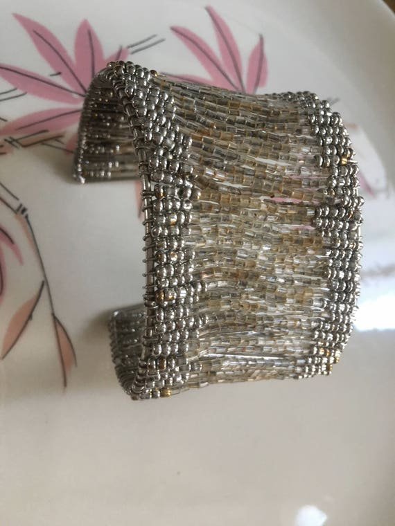 Pretty Silvertone & Crystal Colored Beaded Cuff Bracelet
