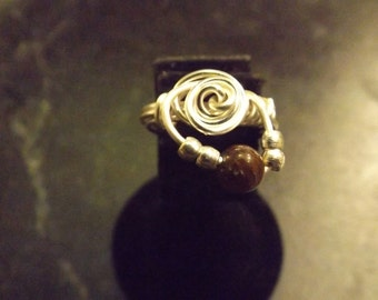 Handmade Wire Wrapped Ring with Tigerseye Bead