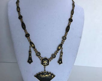 Vintage Japanese Damascene necklace inlaid metal