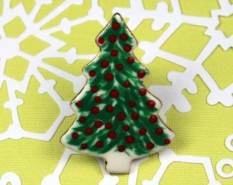 Christmas Brooch Handmade Porcelain Jewelry Christmas Tree Pin Holiday Wear By Linda Cain