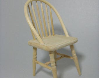 Dollhouse Miniature Unfinished Wood Windsor Kitchen Chair 1:12 Scale