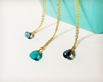 Crystal necklace, Quartz necklace, Blue quartz Necklace, Gemstone Necklace, Faceted quartz, Bridesmaid necklace, Mermaid