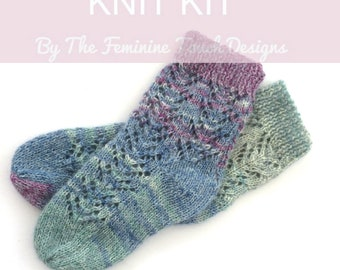 Lace Bed socks knitting kit , hand knit diy kit , delicate lace socks knit on straight needles ,  wool / nylon and mohair , gift for her
