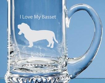 Basset Hound Tankard, Personalised, Basset Beer Glass, Basset Hound, Basset Hound Gift, Hound Beer Glass, Basset Tankard, Basset Dad Gift