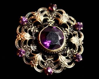 Victorian / Edwardian Large Faceted Amethyst color Glass Brooch ~ Antique / Vintage Jewelry Early Century - C Clasp