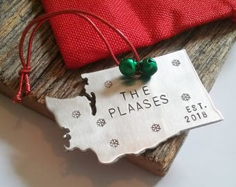 Washington State Christmas Ornament Home Gift Personalized Our First Christmas Married Ornament Wedding Ornament Year Established Mr and Mrs