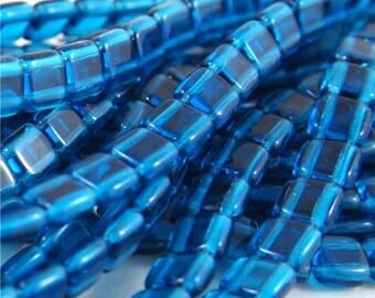 Tchèque Mates, trou 6mm 2 tuile perles-Capri Blue 50 pièces (CZ-CB de CM)